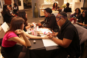 Manicurists at work at Avalon