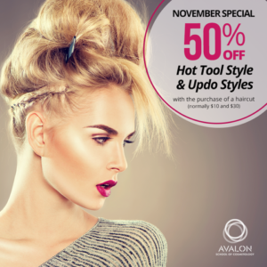 Save 50% on Hot Tool styles and updo styles when you pay full price for a haircut.