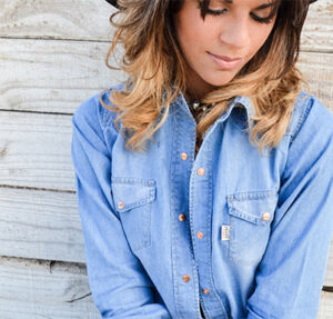 Female model with denim shirt