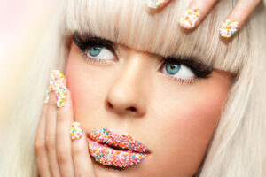 girl with candy nail polish