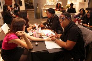 Manicurists at work at Avalon