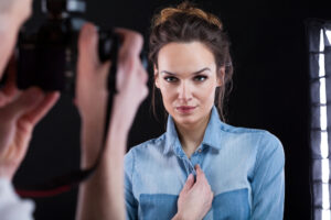 cosmetologist taking picture for portfolio