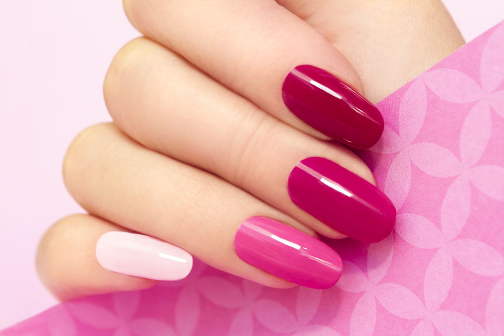 pink painted nails