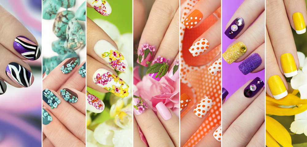 collage of painted designed nails