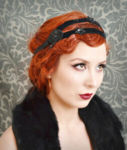 Red hair model with vintage style