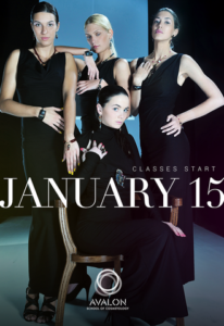 group of ladies in black dresses promoting Avalon's January class start date