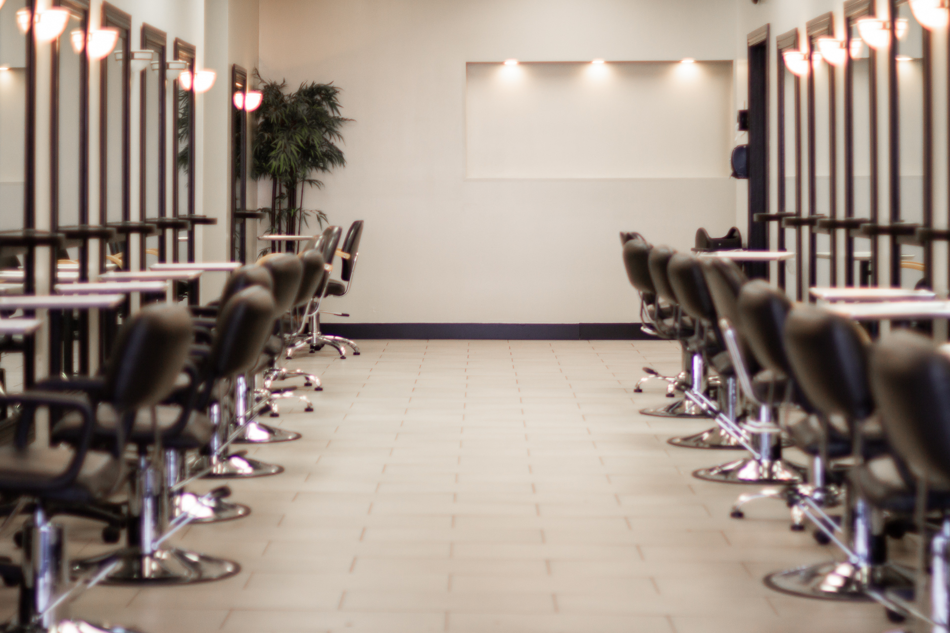 Row of empty chairs in a salon