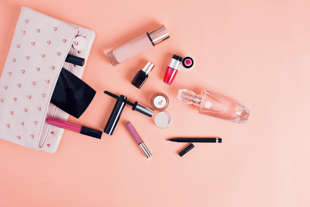 makeup bag with makeup spilling out