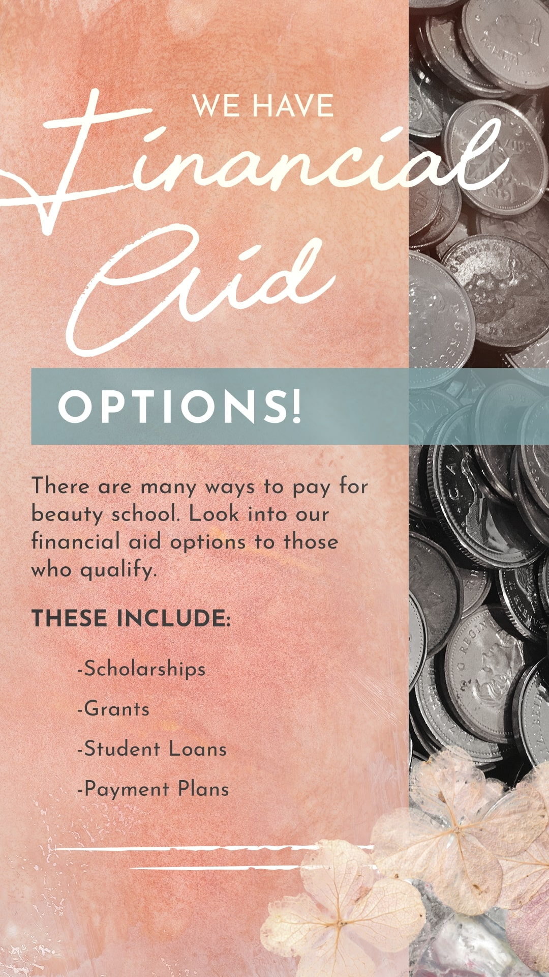 Financial aid options available to those who qualify.